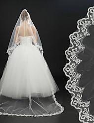 Недорогие -Один слой Кружевная кромка Свадебные вуали Фата для венчания С Аппликации Вышивка 118,11 в (300см) Кружева Тюль