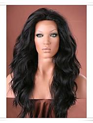 Недорогие -Парики из искусственных волос Естественные волны Искусственные волосы Парик Лента спереди Черный Темно-коричневый Средний коричневый