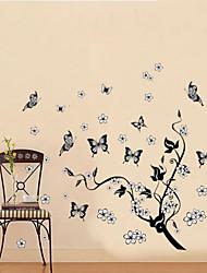 classical árvore preta do vôo videira parede borboleta decalque zooyoo7005 decorativo pvc adesivo de parede removível