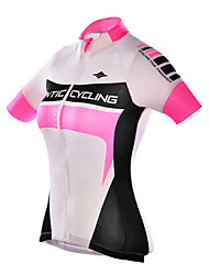 cheap -SANTIC Women's Short Sleeve Cycling Jersey - Pink Bike Jersey, Ultraviolet Resistant, Breathable Polyester
