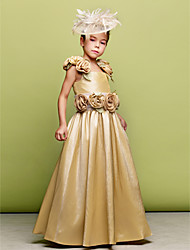 A-Line Princess Floor Length Flower Girl Dress - Taffeta Sleeveless Straps by LAN TING BRIDE®