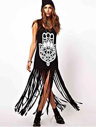 abordables -Robes ( Coton ) Informel Rond à Sans manche pour Femme