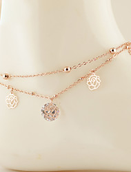 cheap -Crystal Rose Gold Zircon Cubic Zirconia Anklet - Women's Golden Unique Design Fashion Double-layer Others Roses Flower Rose Gold Zircon