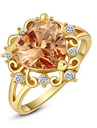 abordables -Femme Cristal Anneau de déclaration - Imitation Diamant, Alliage dames, Amour, Cœur, Mode Taille Unique Rouge / Champagne Pour Mariage Soirée