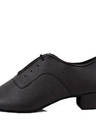 Børn Latin Standardsko Kunstlæder Hæle Indendørs Snørebånd Cubanske hæle Sort 3,5 cm Kan ikke tilpasses