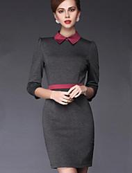 WOMEN - パーティー/仕事 - ドレス ( アクリル ワイシャツカラー - 五分袖