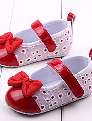 cheap -Girls' Shoes Fabric / PU Spring & Summer Comfort / First Walkers Flats Bowknot for Red / Pink