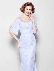 baratos -Sereia Scoop pescoço Cauda Escova Renda Vestido Para Mãe dos Noivos com Miçangas / Detalhes em Cristal de LAN TING BRIDE®