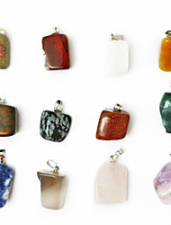 24pcs beadia couleur mixte de pierre naturelle perles Pendentif de charme assorties irrégulière pierre de forme de pendentifs en forme