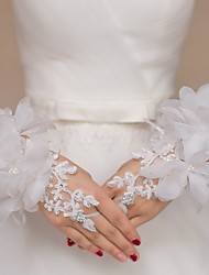 cheap -Lace Tulle Wrist Length Glove Bridal Gloves Party/ Evening Gloves Flower Girl Gloves With Rhinestone Floral