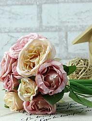 """abordables -Fleurs de mariage Rond Roses Bouquets Mariage Rose Satin 5.51""""(Env.14cm)"""