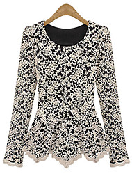 cheap -Women's Lace Round Neck Lace/Ruffle Shirt,Lace/Polyester Long Sleeve