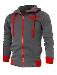 baratos -Homens Tamanhos Grandes Esportes Jacket Hoodie Sólido