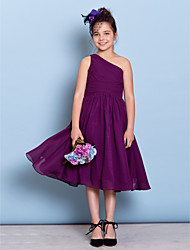 cheap -A-Line One Shoulder Tea Length Chiffon Junior Bridesmaid Dress with Side Draping / Criss Cross by LAN TING BRIDE® / Natural