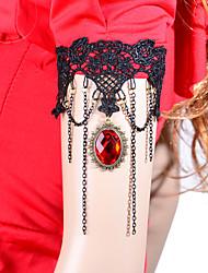Vintage Red Gem Tassel Chain Bracelet