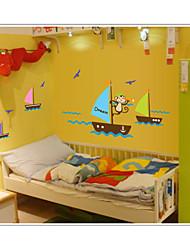 singe cherchent bateau de rêve dans le mur de la mer autocollants muraux PVC zooyoo7043 animale amovibles autocollants bricolage décoratif