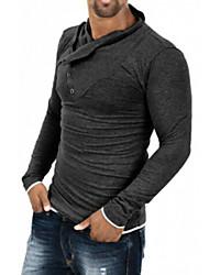 男性用 プレイン カジュアル / オフィス / フォーマル / スポーツ Tシャツ,長袖 コットン / 伸縮素材,ブラック / グレー