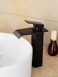 Moderna Conjunto Central Cascata Válvula Cerâmica Uma Abertura Monocomando e Uma Abertura Bronze Polido a Óleo , Torneira pia do banheiro