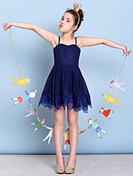 cheap -A-Line Spaghetti Strap Short / Mini Chiffon Junior Bridesmaid Dress with Lace by