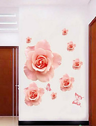 abordables -estilo calcomanías de pared pegatinas pared de color rosa romántico rosa flor de pared del pvc pegatinas