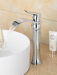 Fashionable Chrome-plated Brass Bathroom Basin Faucet - Silver