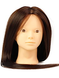 cheap -Heat Resistant Synthetic Hair Salon Female Mannequin Head No Make-up Color Brown