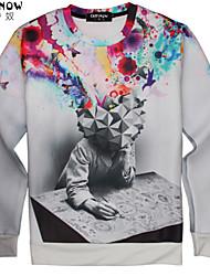 billige -Herre Klassisk & Tidløs Sweatshirt - Multi Farve, Trykt mønster
