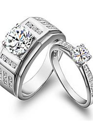 Anillos Pareja Diamantes Sintéticos Plata / Chapado en Plata Plata / Chapado en Plata 4.0 / 5 / 6 / 7 / 8 / 9 / 10¼ / 11 Como la foto