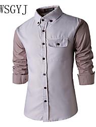 Недорогие -Муж. Офис Чистый цвет Рубашка Классический и неустаревающий Полоски / Длинный рукав