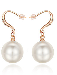 cheap -Women's Pearl Imitation Pearl Cubic Zirconia Drop Earrings - Simple Style Silver Rose Gold Earrings For