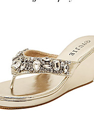 cheap -Women's Shoes Patent Leather Wedge Heel Flip Flops Slippers Dress More Colors available Rose Gold