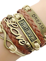 cheap -Men's Women's Charm Bracelet Leather Bracelet Basic Love European Fashion Vintage Plaited Initial Jewelry Personalized Multi Layer