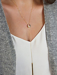 Women's Fashion Metal Golden Art Circle Chain Necklace
