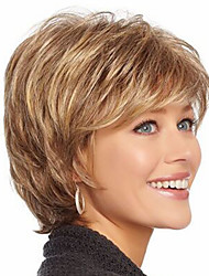 cheap -Women Synthetic Wig Short Wavy Brown Highlighted/Balayage Hair With Bangs Natural Wigs Costume Wig