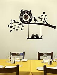 Недорогие -1pc черные дикие птицы на дереве настенные часы украшение домашней стены
