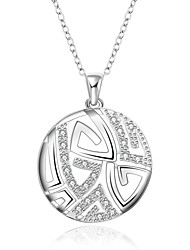 cheap -Cremation jewelry 925 sterling silver Round with Zircon Pendant Necklace for Women