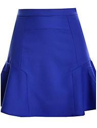 Damen Sexy Einfach Hohe Hüfthöhe Ausgehen Lässig/Alltäglich Mini Röcke Trompete/Meerjungfrau,Patchwork einfarbig Riemengurte Sommer
