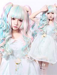 abordables -Pelucas sintéticas / Pelucas de Broma Ondulado Corte asimétrico Pelo sintético Entradas Naturales Azul Peluca Mujer Larga Sin Tapa