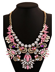 Women's Statement Necklaces Crystal Synthetic Gemstones Alloy Luxury Jewelry For Party