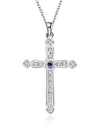 preiswerte -Damen Kreuz Modisch Halsketten Anhängerketten Statement Ketten Anhänger Synthetische Edelsteine Sterling Silber Zirkon Kubikzirkonia