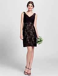 cheap -A-Line V-neck Knee Length Lace Bridesmaid Dress with Lace by LAN TING BRIDE®