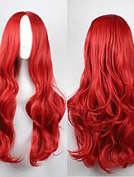 billige -Syntetiske parykker Krøllet / Bølget Assymetrisk frisure Syntetisk hår Natural Hairline Rød Paryk Dame Lang Lågløs