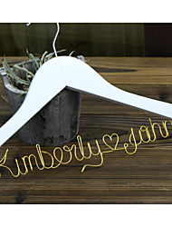 Personalized Custom Wedding Dress Hanger with Gold Wire Names for Groom and Bride