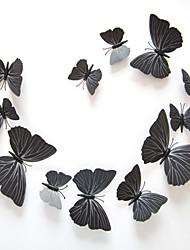 Недорогие -3d наклейки стены стиль наклейки черная бабочка наклейки ПВХ стены