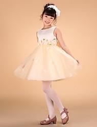 Недорогие -Принцесса колено длина цветок девушка платье - сатин тюль без рукавов бейто шея с цветком