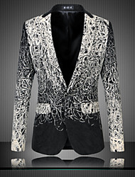 cheap -Men's Daily Street chic Spring Fall Blazer,Print Long Sleeve Regular Cotton
