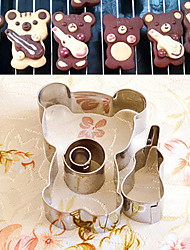 4 Pieces Cartoon Bear with Violin Shape Cookie Cutters Set Fruit Cut Molds Stainless Steel