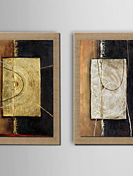 cheap -Oil Painting Modern Abstract Hand Painted Natural Linen with Stretched Framed - Set of 2