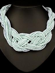abordables -Mujer Cristal Collares Declaración / hebras de perlas / Collar con perlas - Chapado en oro 18K, Perla, Brillante Europeo, Moda Blanco, Azul, Arco iris Gargantillas Para / Diamante Sintético