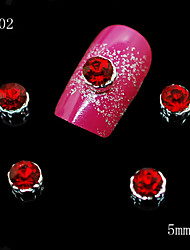 cheap -002 10pcs/lot 3D Red Alloy Rhinestone Women Fashion Nail Metal Alloy Nail Art DIY Decoration Accessories Nails